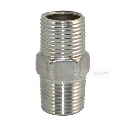 "3/8"" Male x 3/8""  Male Hex Nipple Stainless Steel 304 Threaded Pipe Fitting BSP"