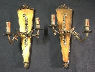 Interesting old wooden wood & brass golden French pair of sconces 45 cm x 25 cm