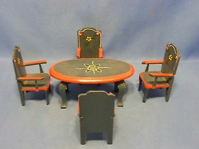 Doll House Furniture / Miniatures TABLE & FOUR CHAIRS