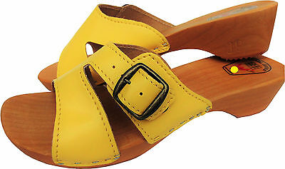 Holz (e) Clogs - Pantolette Gr.37, 38, 39, 40, 41, 42 Gelb, Echt Leder (Made in Poland 10-4-4-76) (39)
