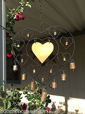 Large Iron Heart Windchime Recycled Metal Rustic Bells Garden Indoor Outdoor