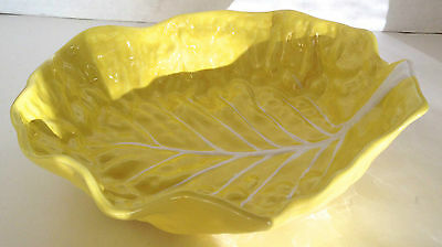 """SECLA YELLOW EMBOSSED CABBAGE LEAF PORTUGAL MAJOLICA ROUND SERVING BOWL 11"""""""