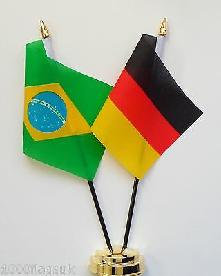 Brazil & Germany Federal Double Friendship Table Flag Set