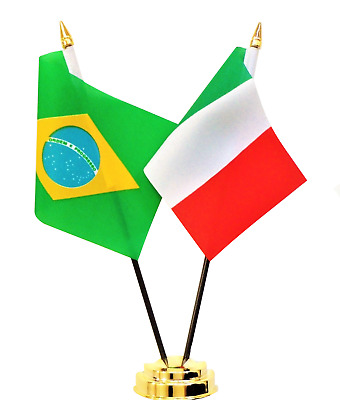 Brazil & Italy Double Friendship Table Flag Set