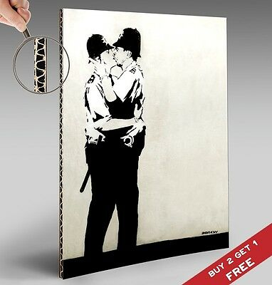 BANKSY KISSING COPPERS POLICE A4 POSTER Graffiti Street Wall Art Print Picture