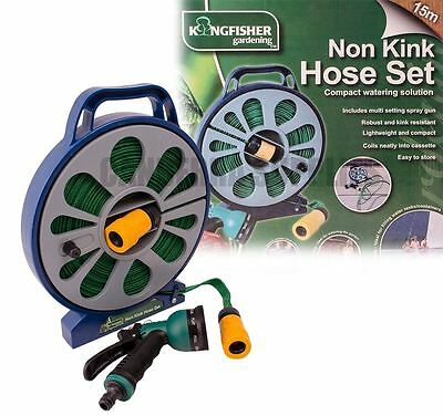 KINGFISHER GARDEN GARDENING LAY FLAT WITH NON KINK HOSE PIPE CASSETTE REEL 15m