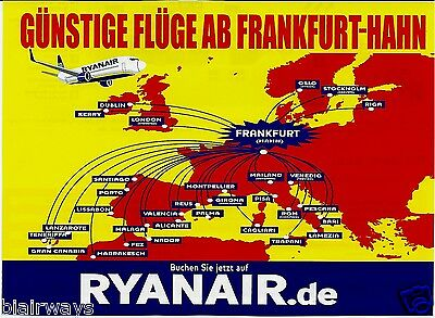 Ryanair Frankfurt Hahn Airport Route Map 2013 German Ad