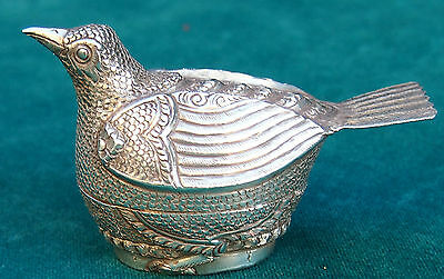 Bird 900 Silver Eastern Block  Pill Box & Top Fine Old Hand-Chased Signed:t900
