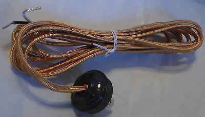 10 foot GOLD RAYON LAMP CORD SET with Antique Style Acorn Plug  #CS862