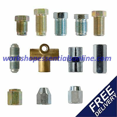 "Brake Pipe Unions-Fittings-Ends Sizes for all Cars Metric & 3/8"" UNF Copper Pipe"