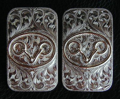 """2 - 5/8"""" Sunset Trails Sterling Overlay Bridle / Headstall Buckles w/ Snaffle"""