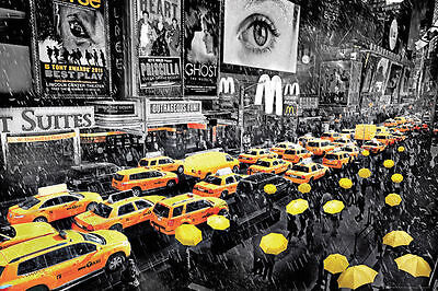 NEW YORK CITY UMBRELLAS - ART POSTER - 24x36 NYC MANHATTAN TAXIS RAIN 33931
