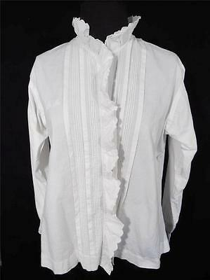 Rare French Antique  Edwardian Era White Monogrammed Ma Cotton Blouse Size Large