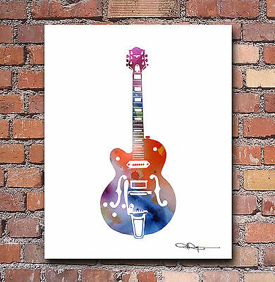Guitar Abstract Watercolor Painting 8 x 10 Art Print by Artist DJ Rogers