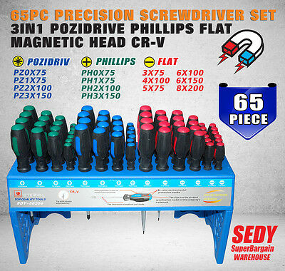 65pc Precision Screwdriver Set 3in1 Pozidrive Phillips Flat Magnetic Head CR-V