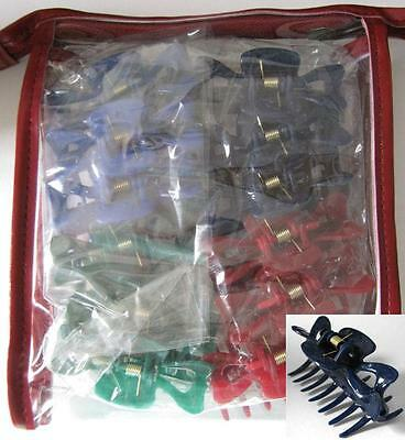 Bulk Pack of 12 Mixed Color Spring Loaded 6cm Hair Claw Clips in Zip Up Gift Bag