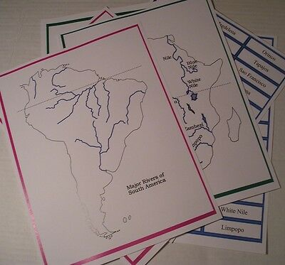 World RIVERS Kit Geography  Montessori Materials Home School Continents Maps CD