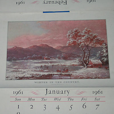 Vintage 1961 Currier & Ives Wall Calendar from Travelers Insurance Company