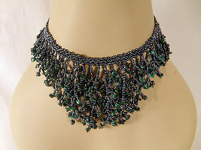 """Vintage Charcoal Glass Bead and Green Stone Necklace, 15"""" Long Choker Style"""