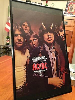 "Big 11X17 Framed Ac/dc ""highway To Hell"" Lp Album Cd Promo Ad Acdc Ac Dc"