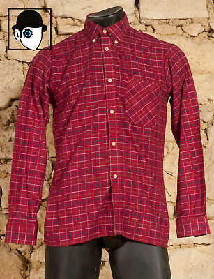 VINTAGE 70s BUTTON DOWN COLLAR SKINNY FIT SHIRT - EU 38 - UK/US 15 - SMALL