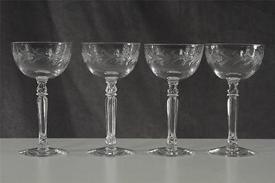Vintage Elegant Cut Etched Glass FOSTORIA Holly Lot 4 Liquor Cocktail Stemware