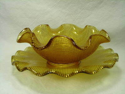 Amber Pressed Glass Ruffled Bowl & Plate - Tiny Diamond Design