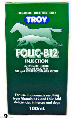 Troy Folic Acid+Vitamin B12 Supplement anaemia Horse Pony Dog racing 100ml