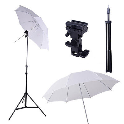 "Photo Studio Swivel Flash Shoe Bracket Mount B & 33"" Umbrella Light Stand Kit"