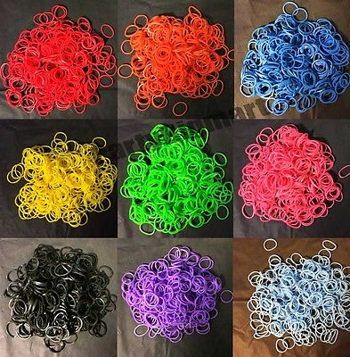 300-3000pcs Loom Band Kit Refill Single Colour or Mixed + Free S-clips and Hooks