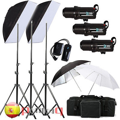 Flash Estudio Kit Iluminación 3 LED Estroboscopio 300W 900W + Caja Suave + Sopor