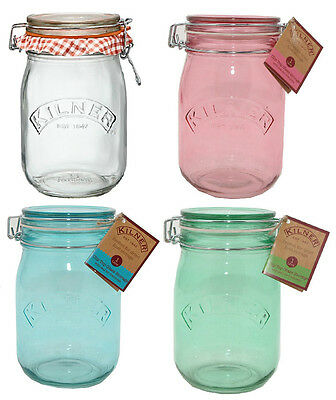 1 Litre Kilner Glass Jar Contemporary Colour Clip Top Storage 1L *MULTI LISTING*