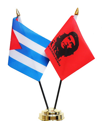 Cuba & Che Guevara Double Friendship Table Flag Set