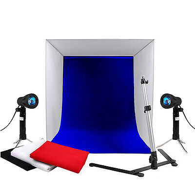 "16"" Photography Studio Lighting Tent Soft Box Light w/ 4 Backdrops& Camera Stand"