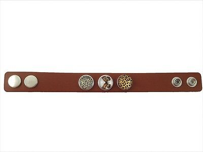 Noosa Style Dark Brown Leather Bracelet with 3 Snap Buttons - No 1 - FREE PP