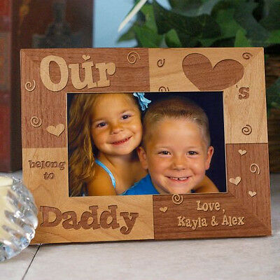 Personalized Fathers Day Picture Frame Our Hearts Belong To Daddy Photo Frame