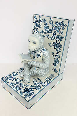 Unique Beautiful Blue and White Porcelain Monkey Book End 10""