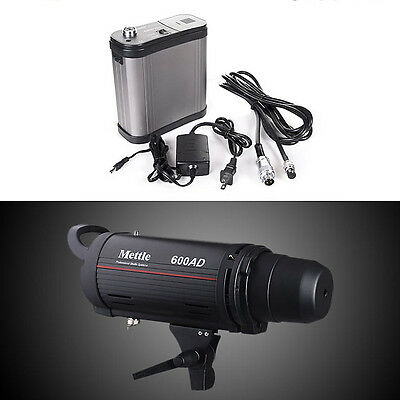 Dual Power AC/DC 110v Mettle 600W Monolight Flash Strobe Light with Battery Pack