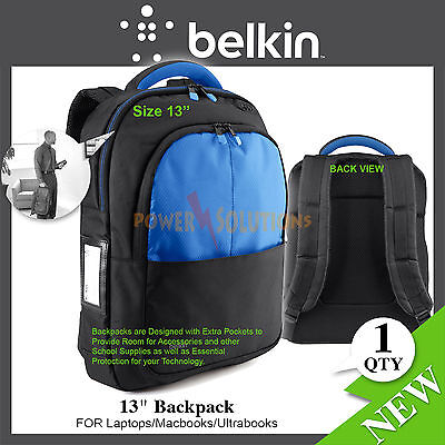 Belkin Backpack 13'' Bag For Laptop MacBook Notebook Extra Poscket Black / Blue