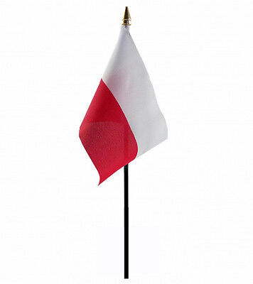 "Poland Small Hand Waving Flag 6"" X 4"" With Pole Polish Warsaw"