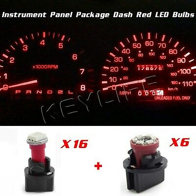 Instrument Cluster Speedometer Indicator Red LED Bulbs Kit For 98-01 Ford Ranger