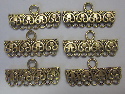 6 x 7 Row Ending Metal Finding End For Beading & Jewellery Making Boho Gold Tone