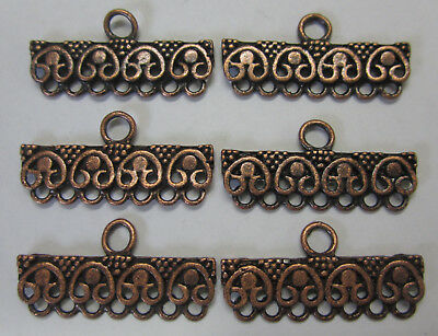 6 x 7 Row Ending Metal Finding End For Beading & Jewellery Making Copper Tone