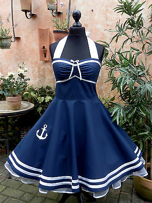 50er Petticoat Rockabilly Sailor Marine Nautic Anker Kleid Dress 34-54 Maritim