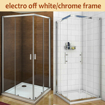 Shower Enclosure Corner Entry Sliding Glass Cubicle Stone Tray Waste B31