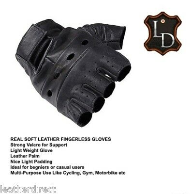 Leather Plain Fingerless Gloves Weight Training Gym Cycling Driving Car Biker