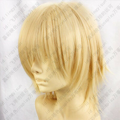 184 Final Fantasy Type-0 Ace Light Blond Short Cosplay Costume Wig free wig cap