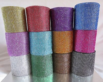 Multi colour diamante diamond Rhinestone Mesh Ribbon Cake Craft Crystal Wrap