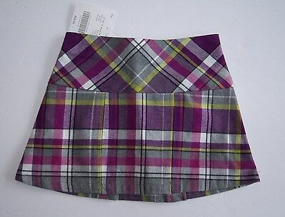 NWT Janie and Jack City Museum 6-12 Months Purple Plaid Pleated Skirt