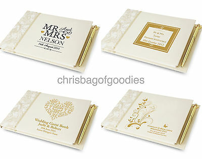 PERSONALISED GIFT for Wedding Engagement Anniversary Gold Silver GUEST BOOK
